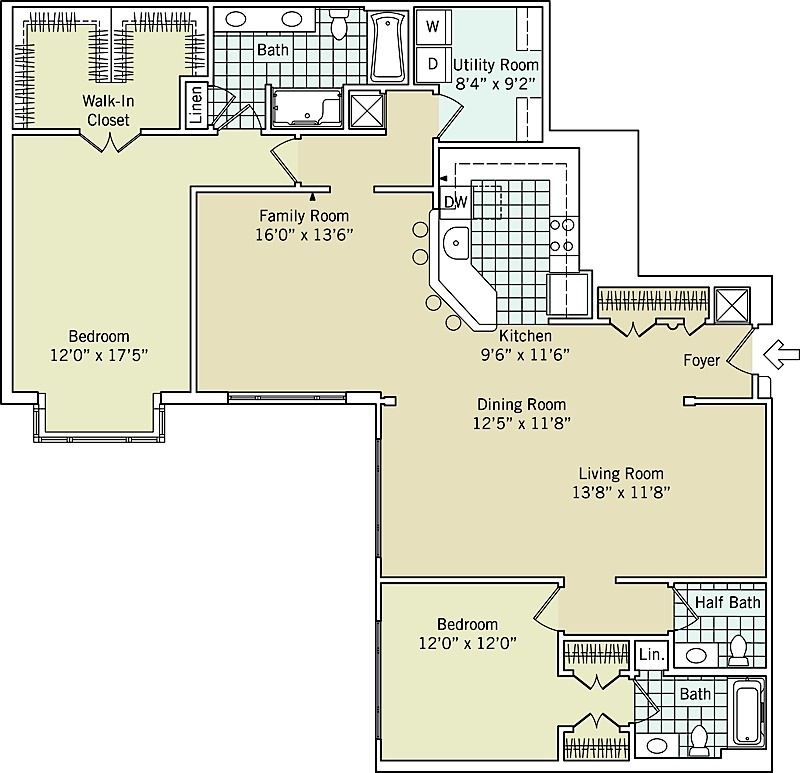 Deluxe Two Bedroom Two And A Half Bath With Family Room