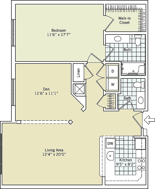 One Bedroom With Den Interactive Floor Plan Ashby Ponds