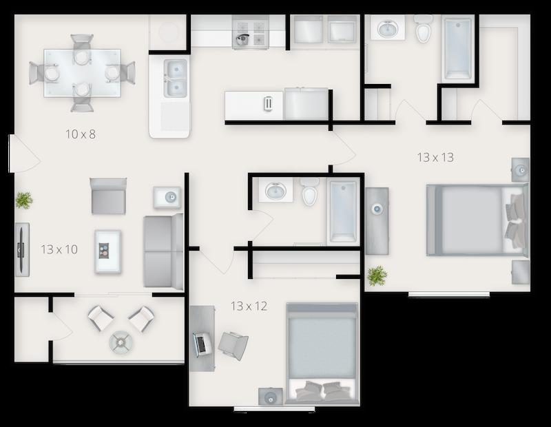 Elegant 2D Floor Plans with 3D Accents